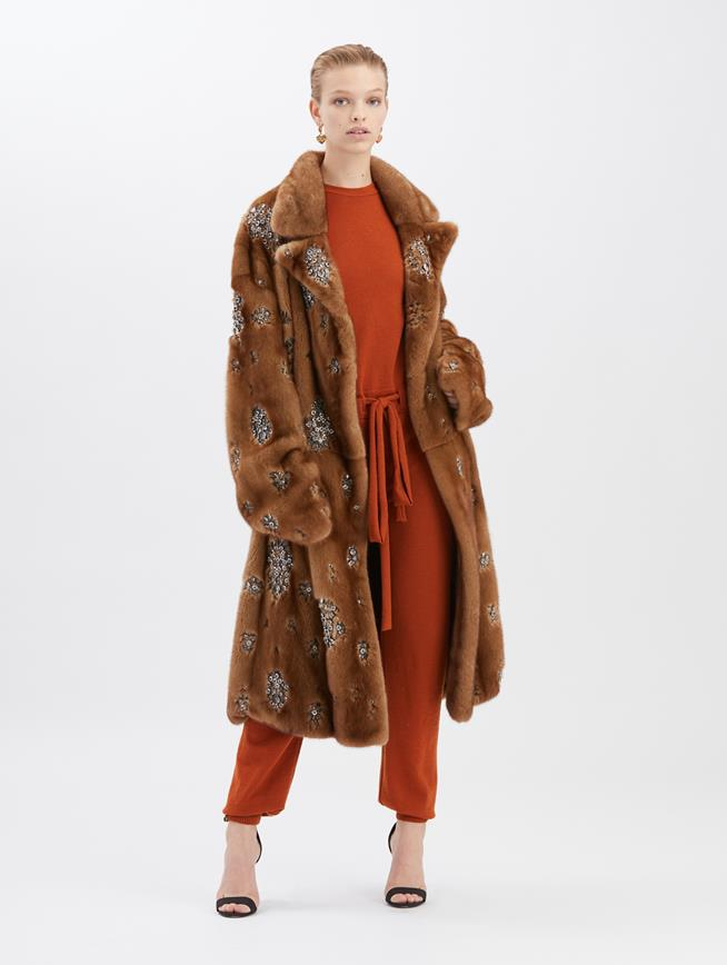 Embroidered Mink Coat Brown