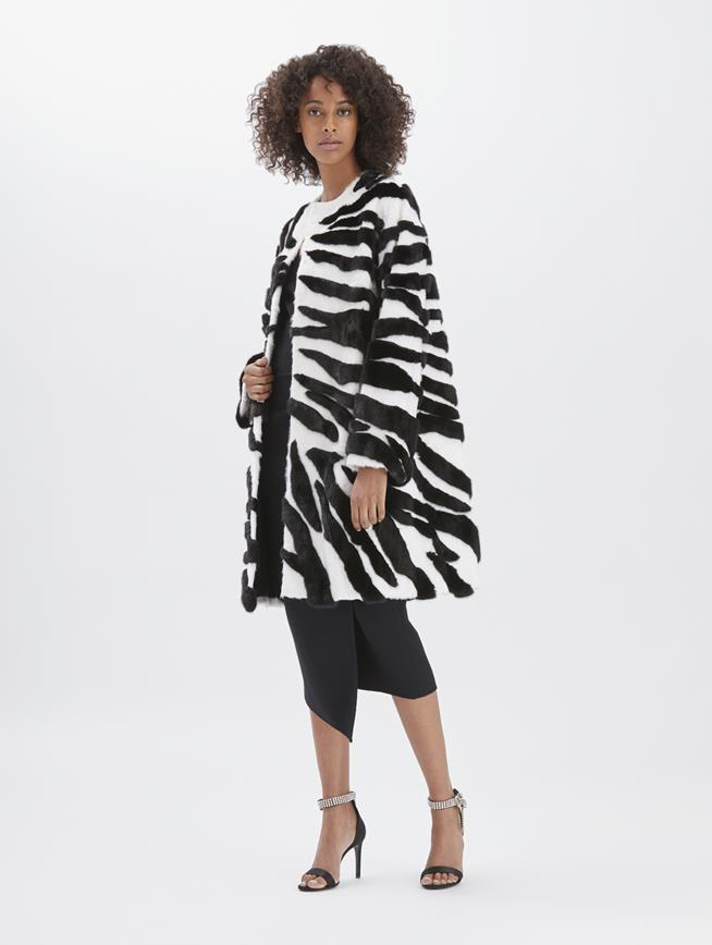 Lamb and Mink Coat Black and white