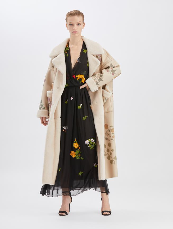 Botanical Shearling Coat Multi