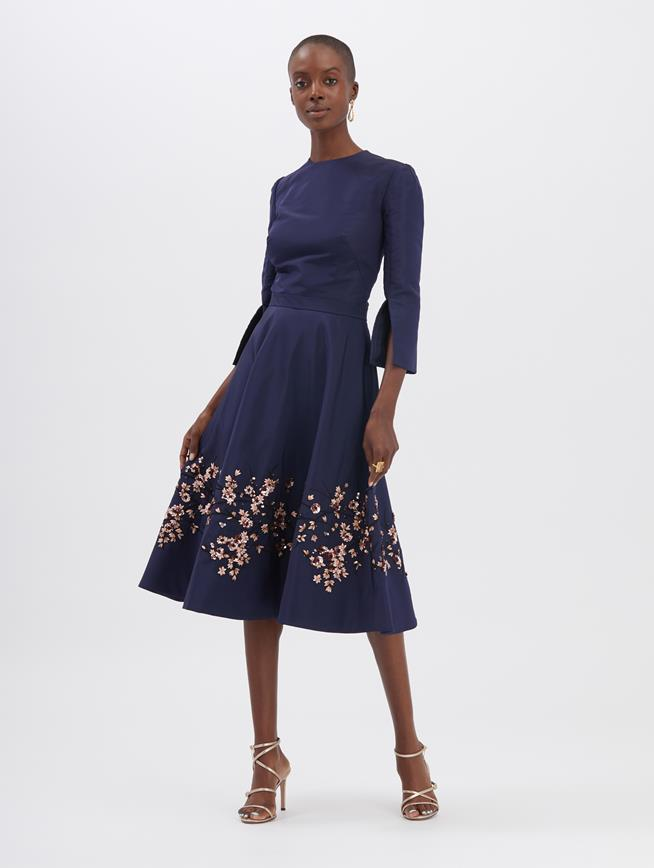 Navy Embroidered Cocktail Dress NAVY