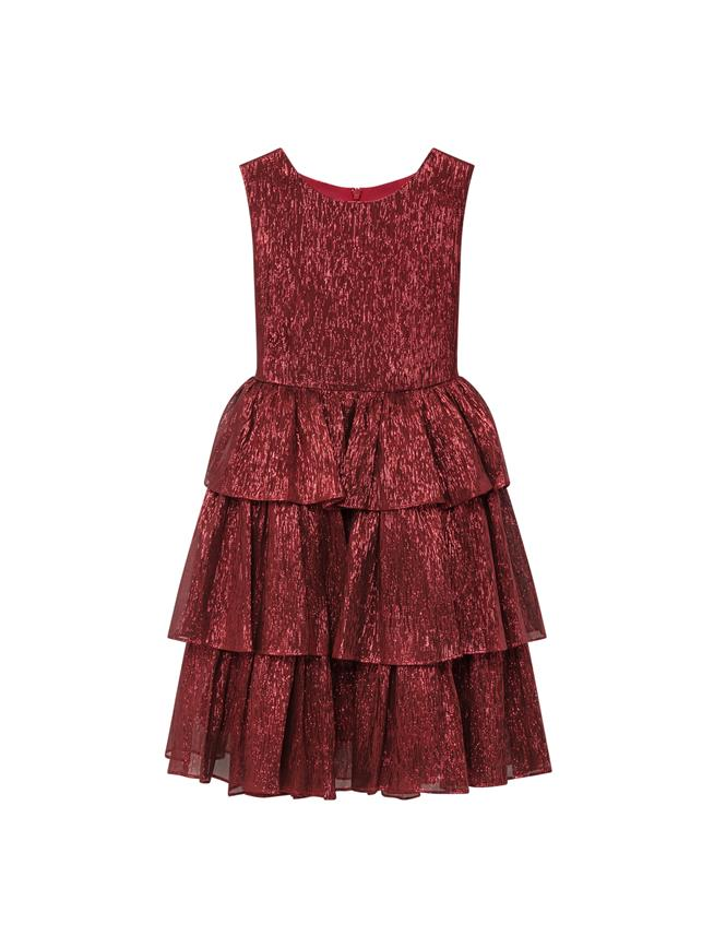 Lamé Mousseline Dress Red