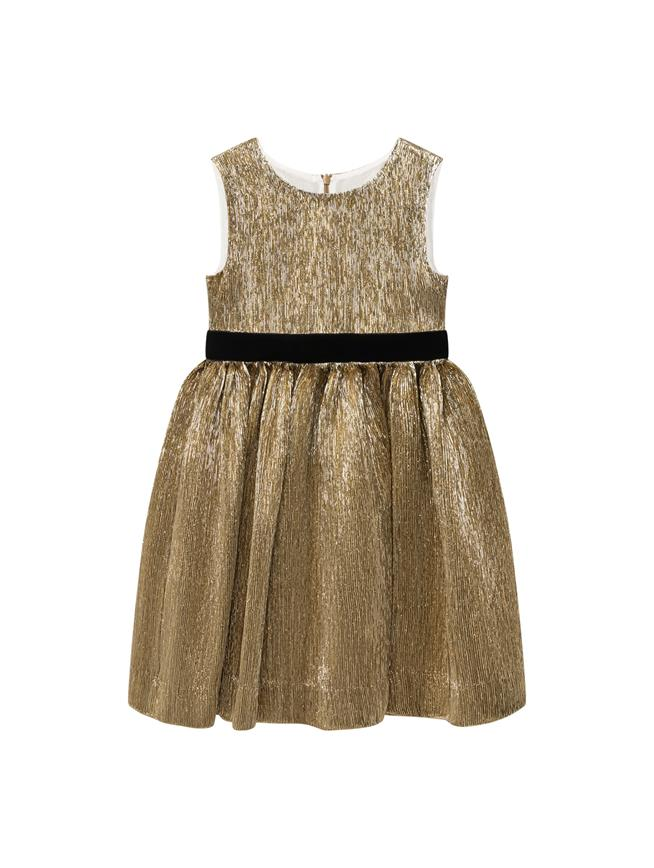 Plissé Lamé Dress Gold