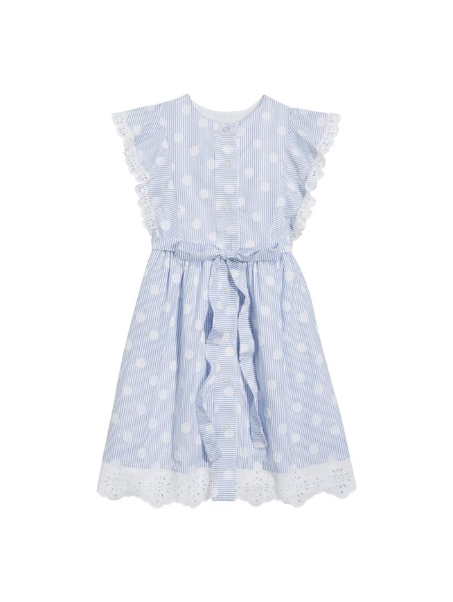 SCALLOPED DRESS WHITE/BLUE