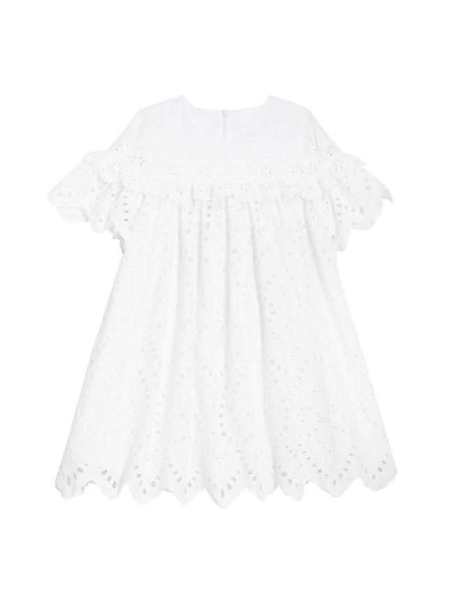 FLORAL EYELET DRESS White