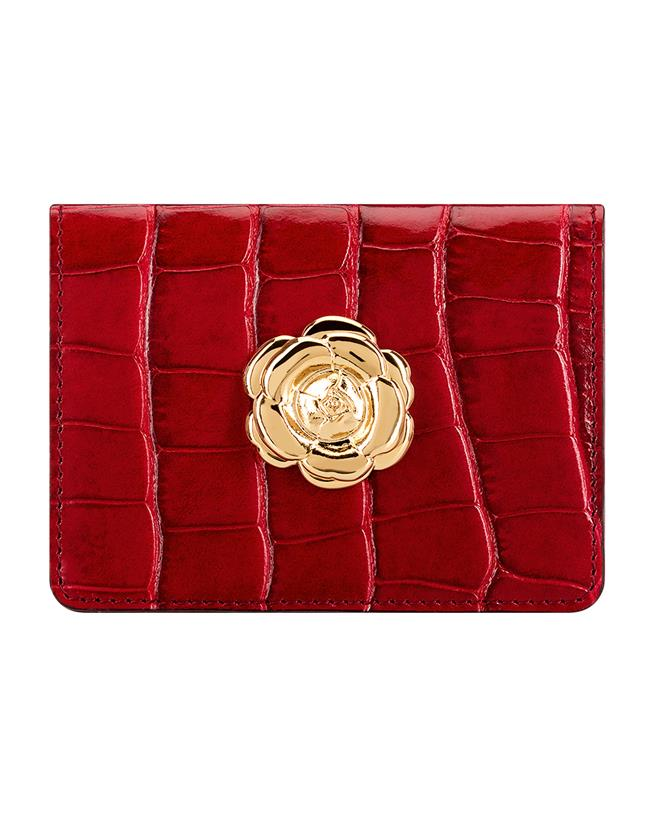 Ruby Croc-embossed Card Case RUBY