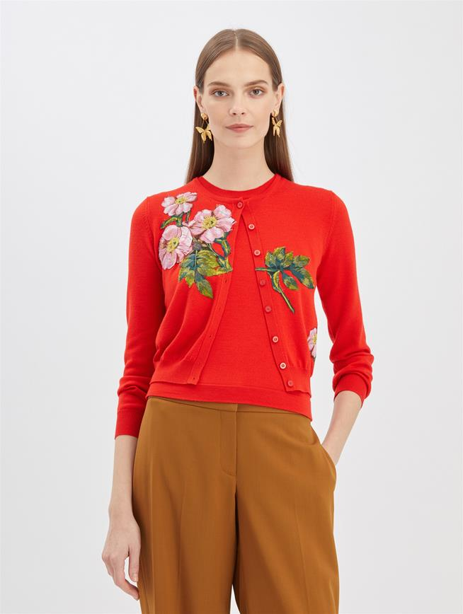 Floral Embroidered Cardigan Scarlet