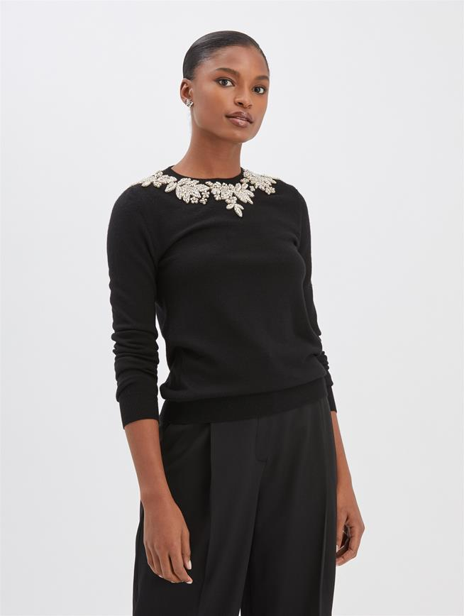 Embroidered Pullover Black