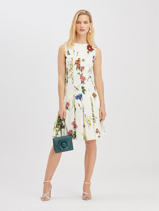 Embroidered Cady Dress Ivory