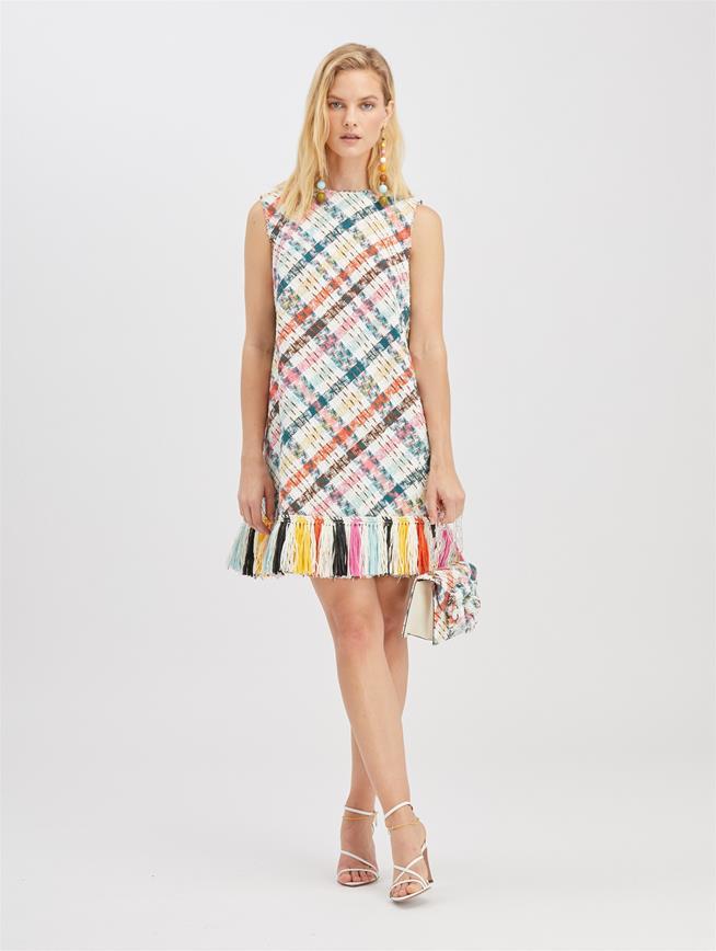 Raffia-Embroidered Tweed Dress Peacock Multi