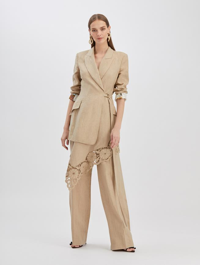 Floral Cut Linen Jacket Beige