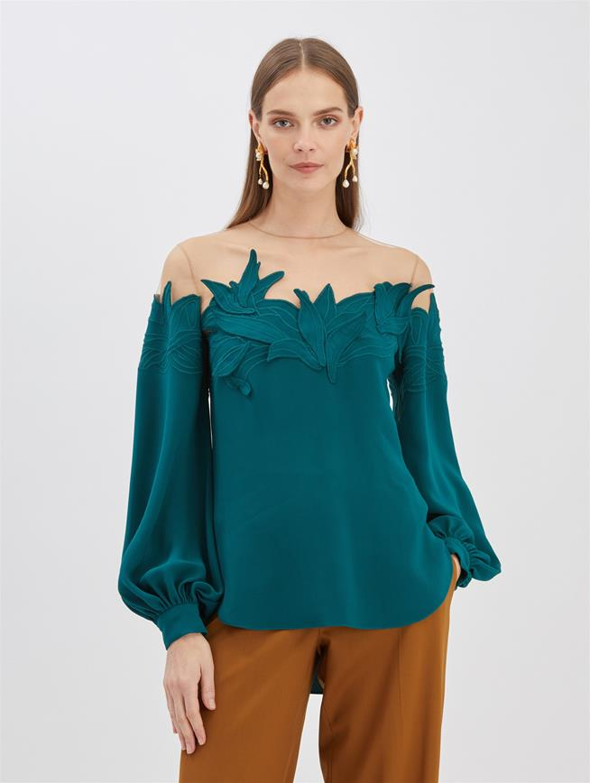 Embroidered Blouse Peacock