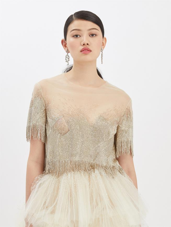 Embroidered Tulle Blouse Ivory