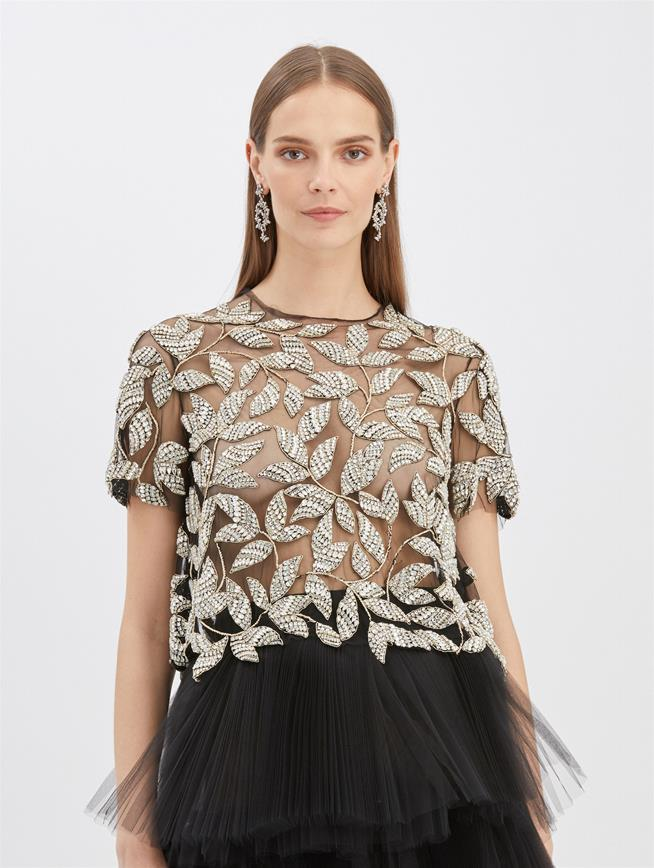 Beaded Tulle Blouse Black