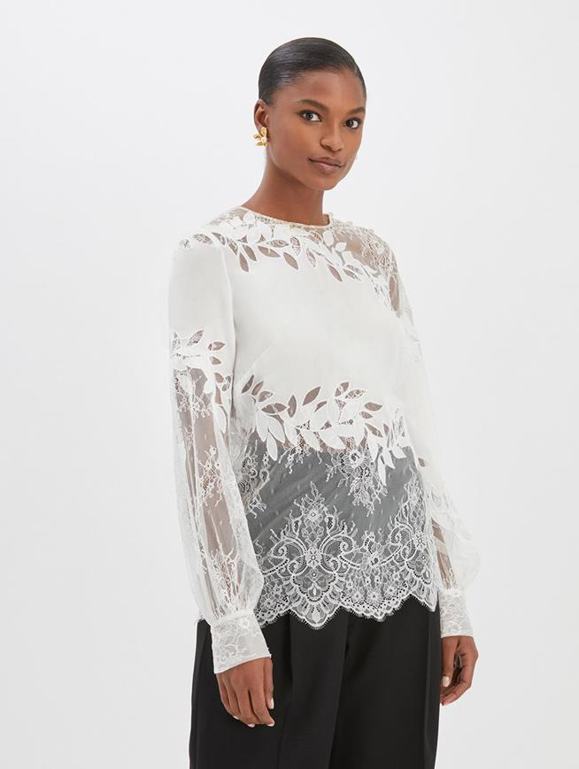 Lace and Silk Blouse Ivory