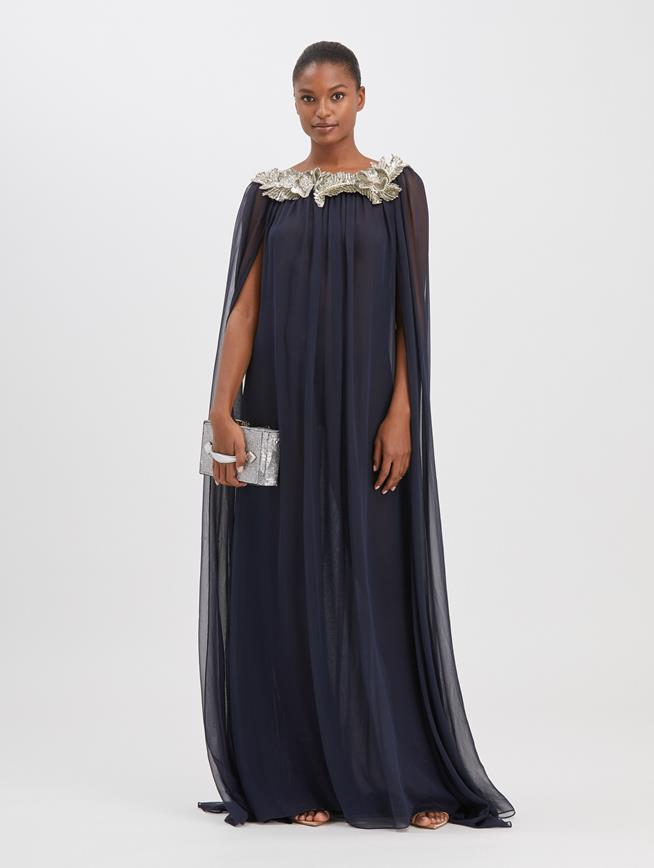 Embroidered Cape Caftan Navy