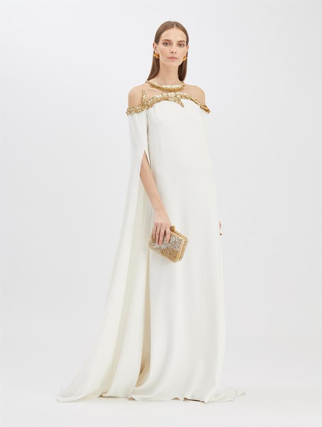 Embroidered Caftan Ivory