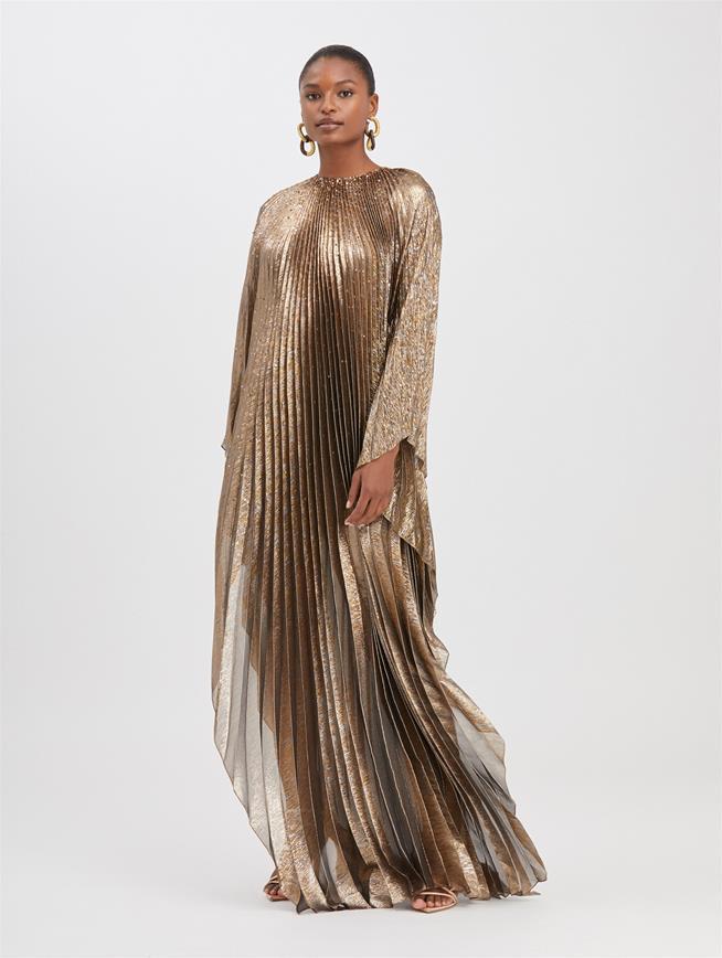 Pleated Lamé Mousseline Caftan Dark Gold