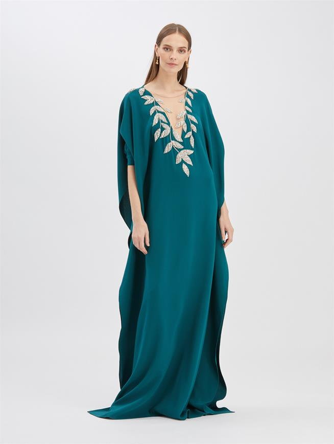 Fern-Embroidered Caftan Peacock
