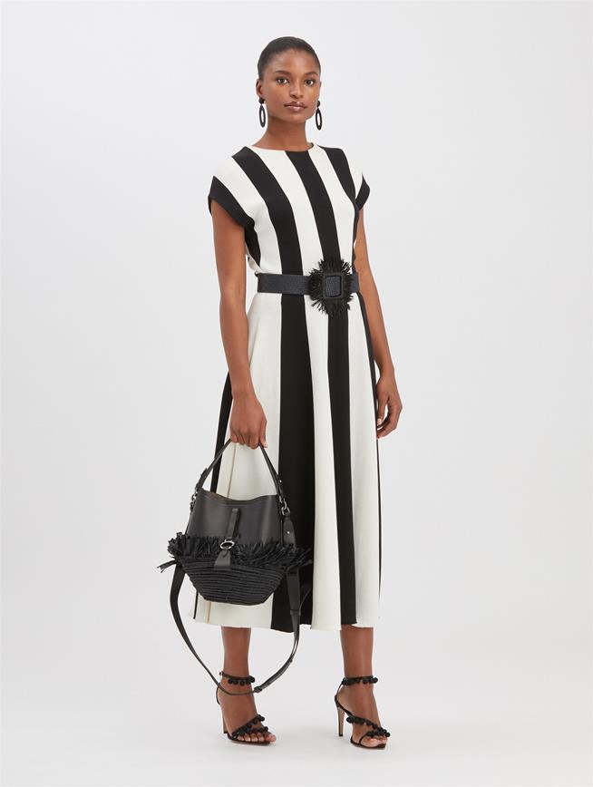 Striped Knit Dress Black/White