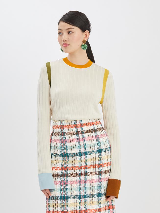 Color Block Pullover Ivory Multi