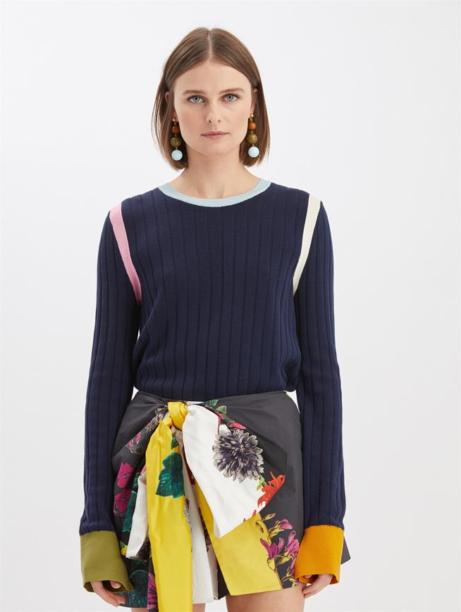 Color Block Pullover Navy Multi