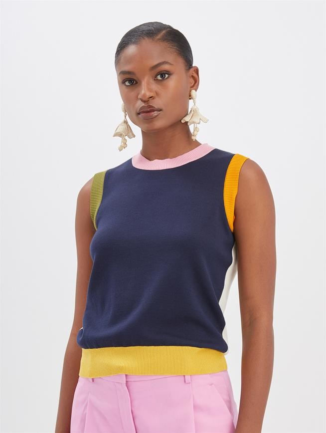 Color Block Tank Navy Multi