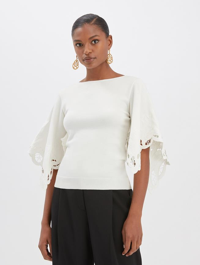 Floral Cut Pullover Ivory