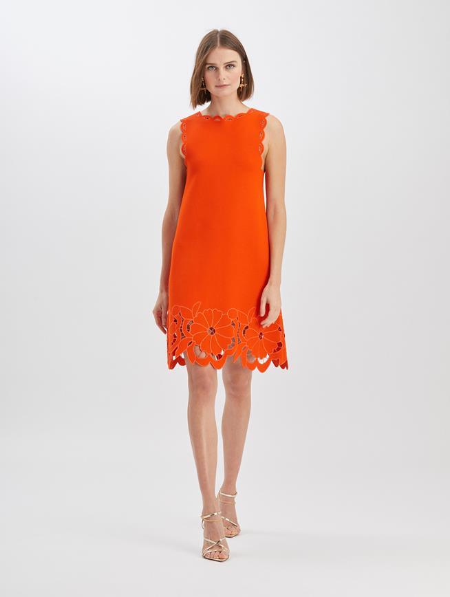 Floral Cut Knit Dress Burnt Orange