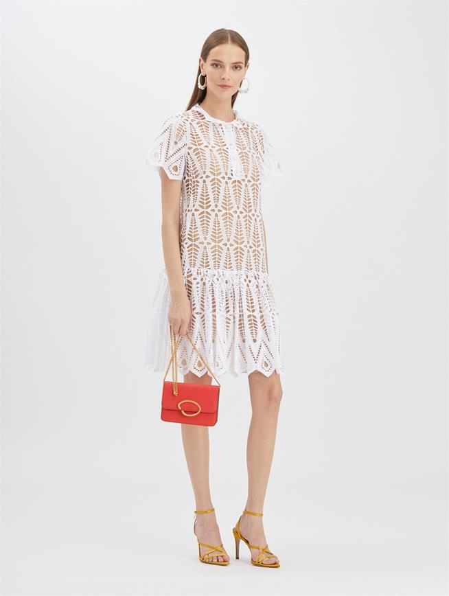 Diamond Eyelet Dress White