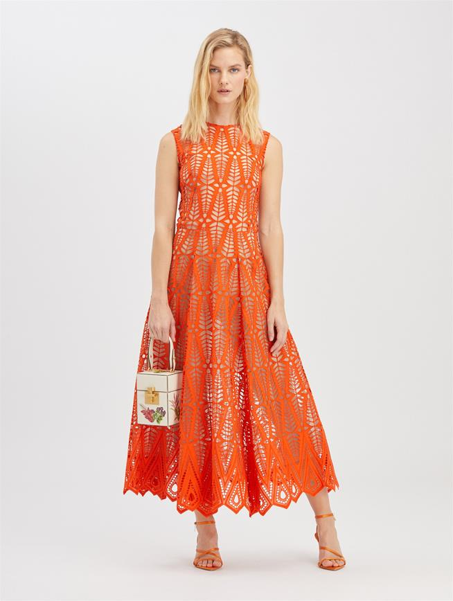 Diamond Eyelet Dress Burnt Orange