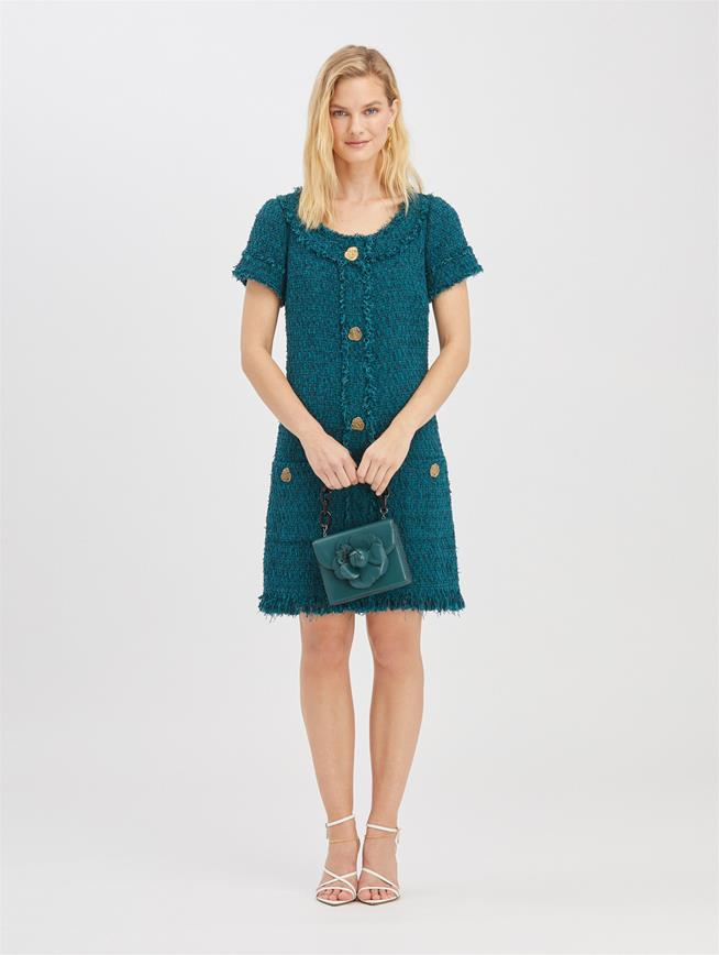 Embroidered Tweed Dress Peacock