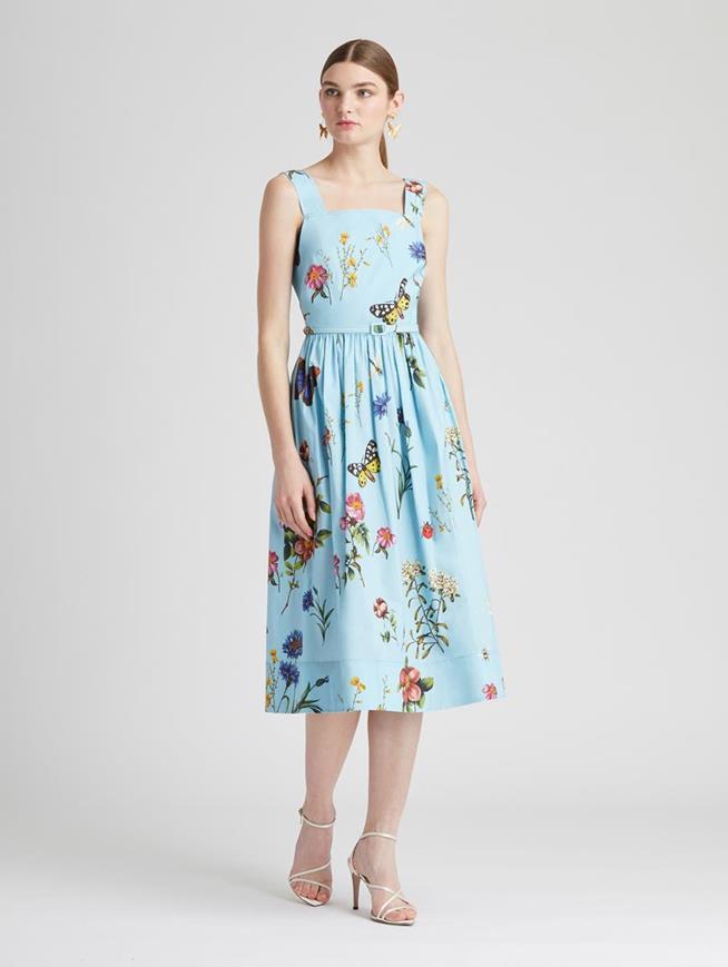 Botanical Garden Poplin Dress Aquamarine