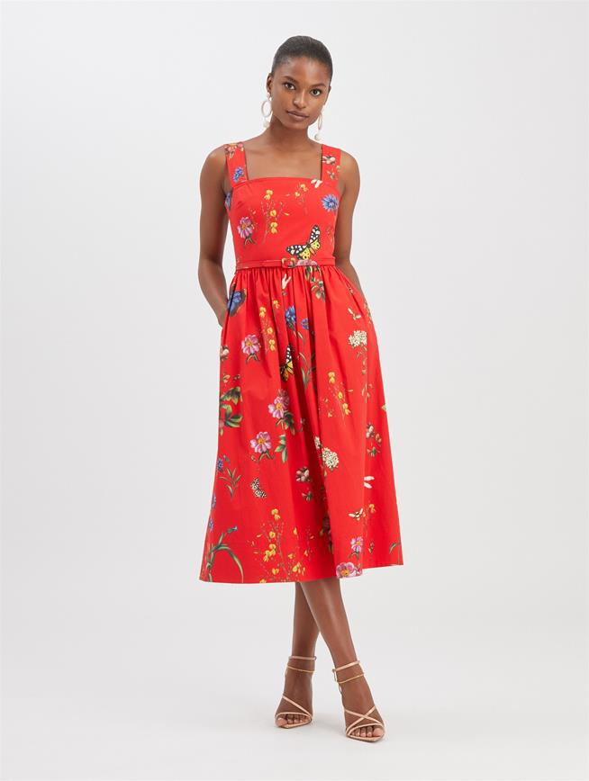 Botanical Garden Poplin Dress Scarlet