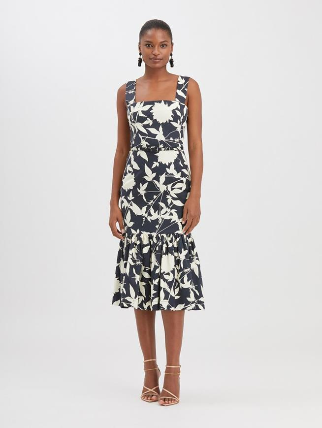 Graphic Floral Twill Dress Navy