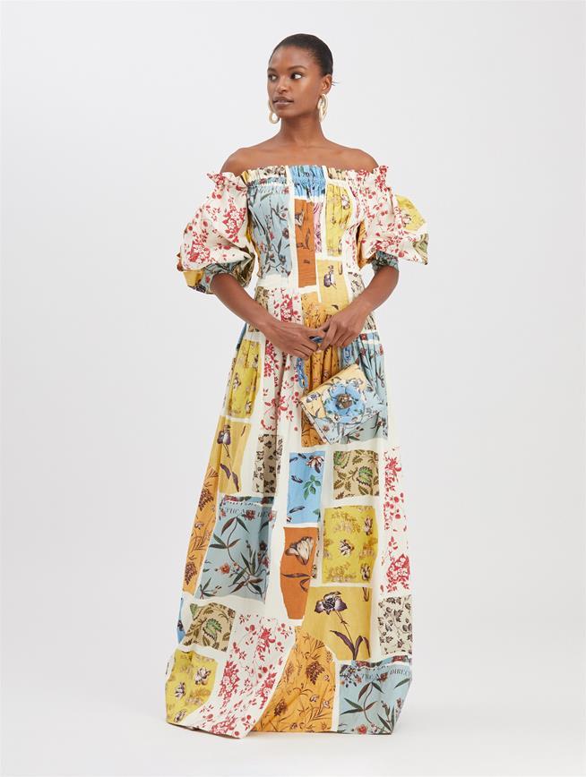 Swatch Book Poplin Dress Ecru Multi