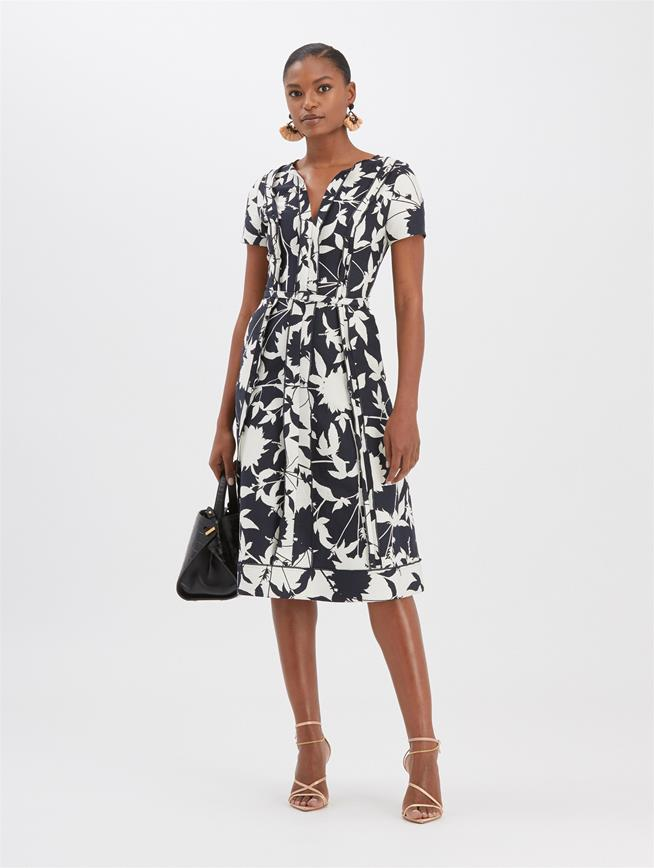 Graphic Floral Jacquard Dress Navy
