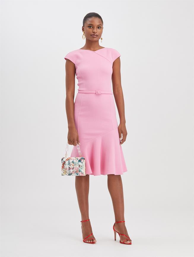 Stretch-Wool Crepe Dress Begonia