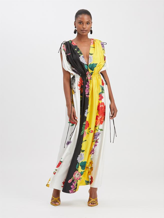 Floral Stripe Maxi Dress Ivory Multi