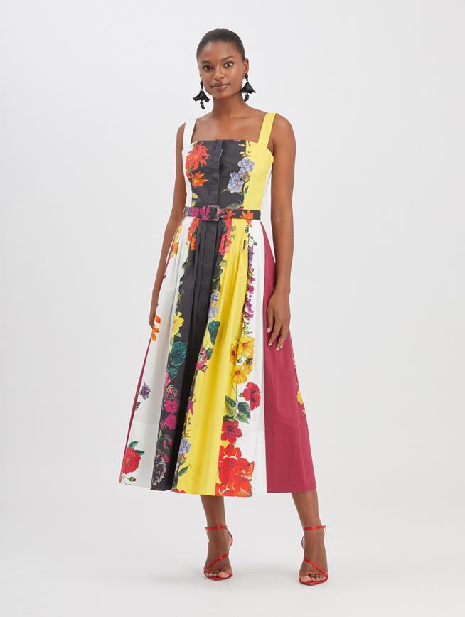 Floral Stripe Poplin Dress Ivory Multi
