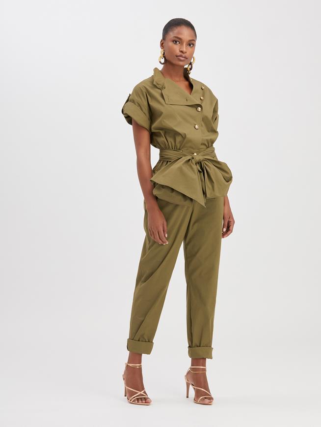 Technical Cotton Jumpsuit Moss