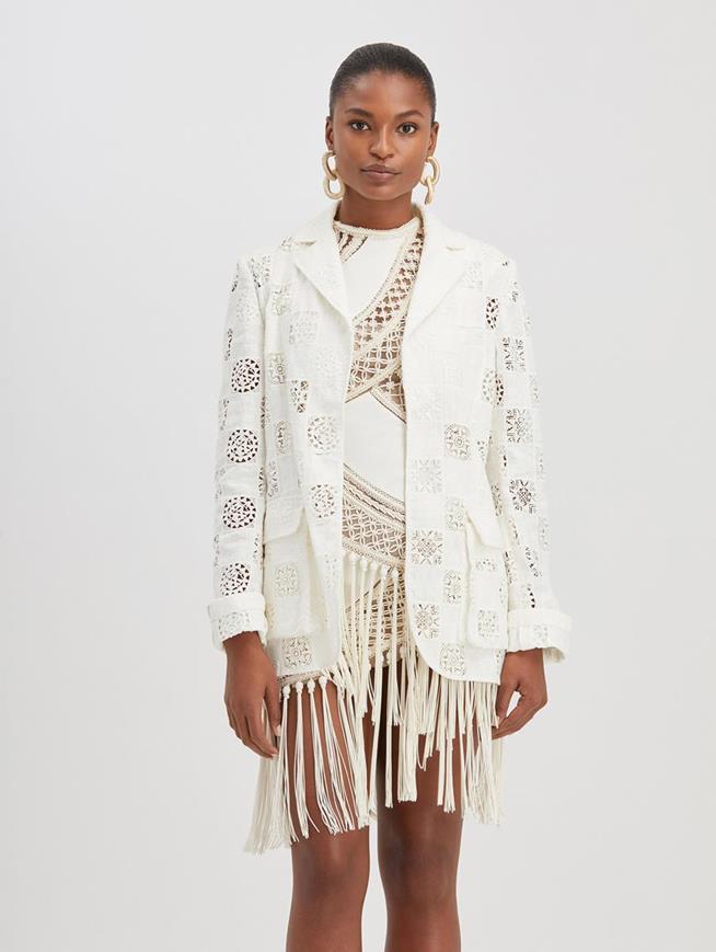 Eyelet Linen Jacket White
