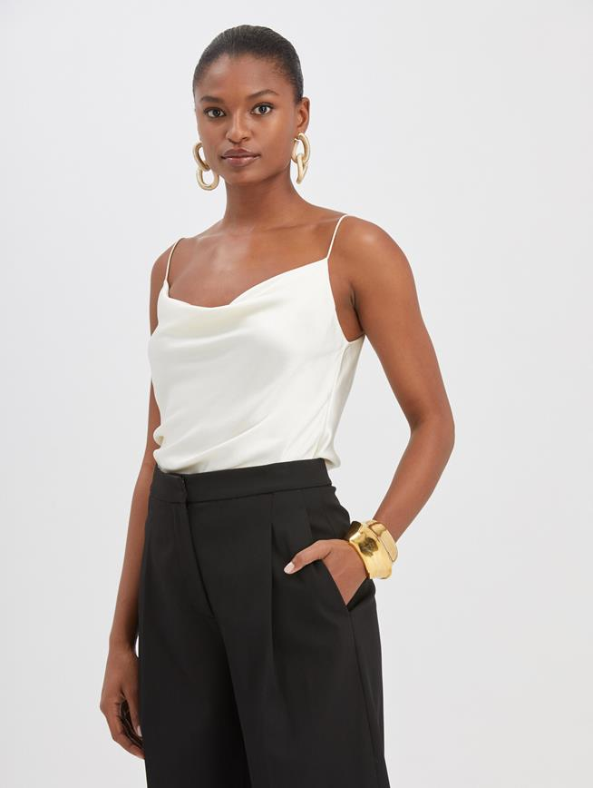 Draped Satin Blouse Ivory