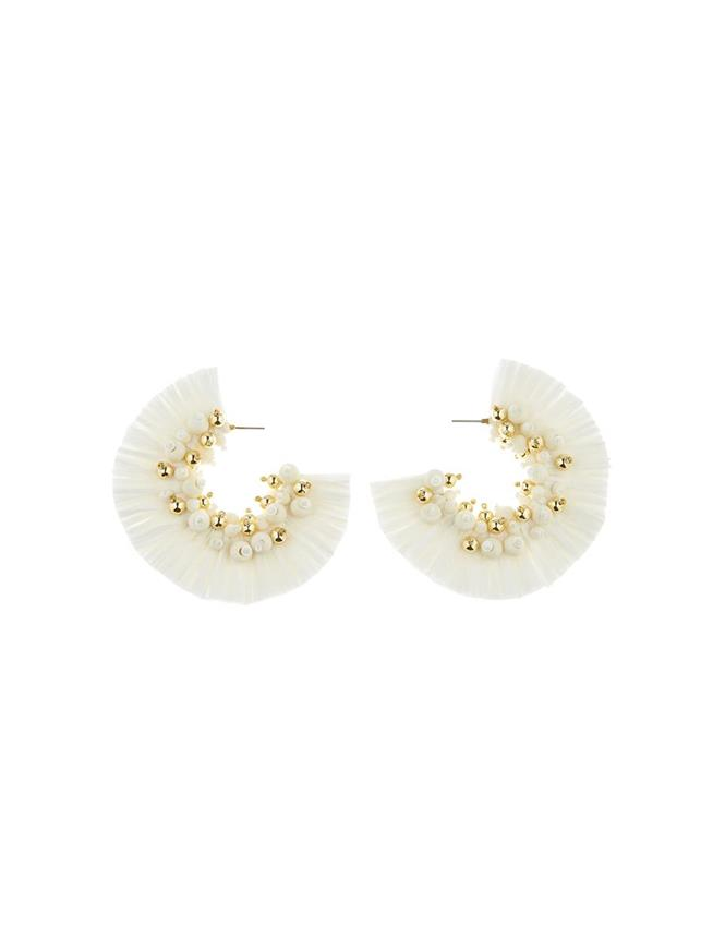 Raffia Hoop Earrings Ivory
