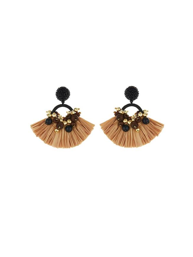 Raffia Fringe Earrings Beige