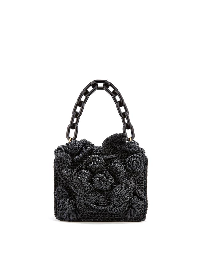Black Raffia Mini TRO Bag Black
