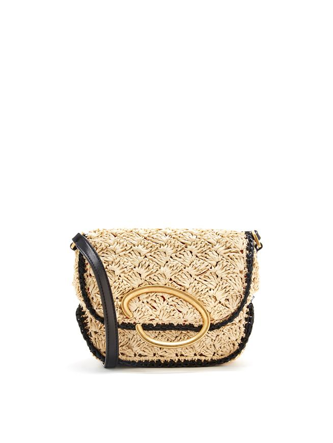 Raffia Oath Shoulder Bag Natural/Black