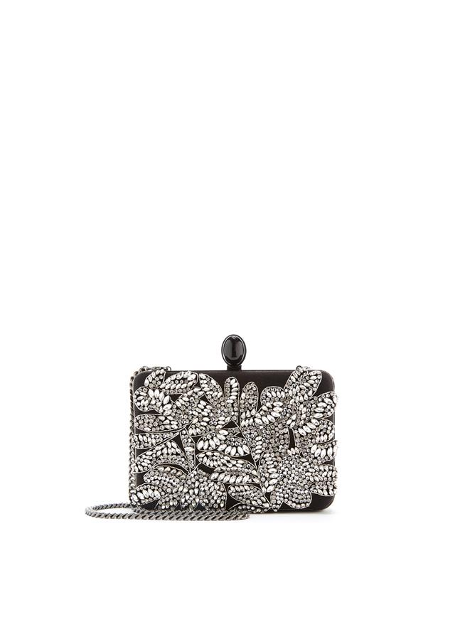 Satin Embroidered Rogan Clutch Black/Crystal
