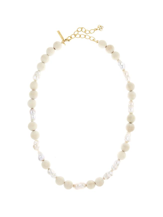 Beaded Pearl Necklace Cream