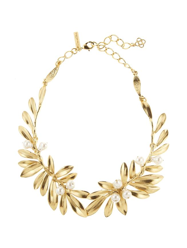Pearl Leaf Necklace Gold