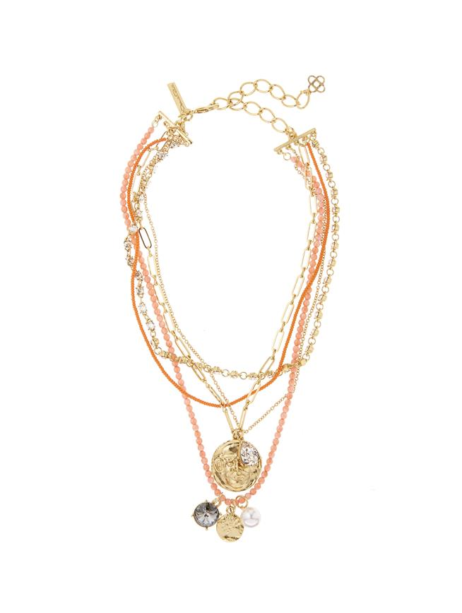 Tiered Charm Necklace Coral